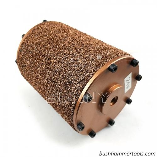 China Vacuum Brazed Diamond Bush Hammer Roller For Grinding Granite Marble Stones